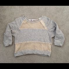 Lovers + Friends Heathered Panel Sweatshirt Sporty and cute panel sweater. Grey heather sweatshirt material and off white netting material. Size small. Great fun sweatshirt. Lovers + Friends Tops Sweatshirts & Hoodies