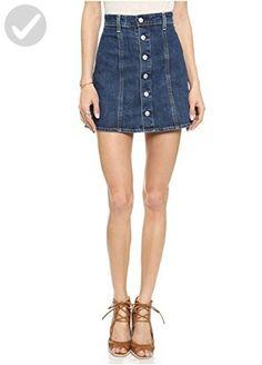DixperfectWomen's Denim A-line Button-through Mini Skirt Pure Color - All about women (*Amazon Partner-Link)
