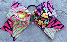 3 Width Cheer Bow 7x6.5 Texas Size Cheer Mania Zebra Leopard Neon by JustImagineThatBows