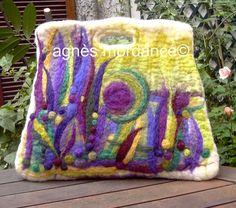 Grand sac trapèze laine feutrée - pièce unique