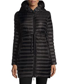 Barbel Hooded Down-Fill Knee-Length Jacket by Moncler at Neiman Marcus.