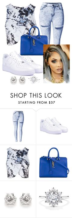 """""""Untitled #55"""" by gameofchancee ❤ liked on Polyvore featuring NIKE, Topshop and Yves Saint Laurent"""