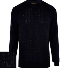 Navy blue cable knit jumper €14.00