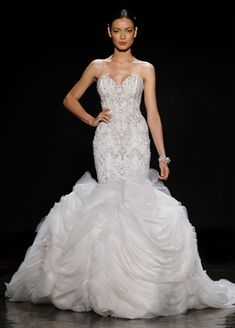 Lazaro Sweetheart Mermaid Wedding Dress with No Waist/Princess Seams in Organza. Bridal Gown Style Number:32901720