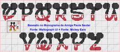 Free Cross Stitch Chart - Mickey Mouse Disney Lettering O-Z Free Cross Stitch Charts, Disney Cross Stitch Patterns, Cross Stitch Baby, Cross Stitch Designs, Disney Letters, Cross Stitching, Cross Stitch Embroidery, Alfabeto Disney, Mickey E Minie