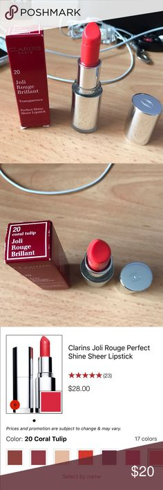 💄CLARINS LIPSTICK 💄 New in box. Clarins Joli Rouge Perfect Shine Sheer Lipstick. Color: 20- Coral tulip. 🤑Open to offer Macy's Makeup Lipstick