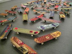 Several prayer rugs used by Muslims during the Islamic prayers have been deconstructed by Moroccan-born artist Mounir Fatmi to create artistic skateboards.