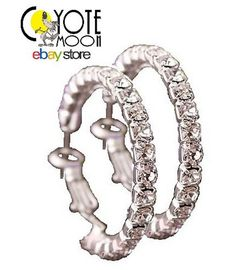 Medium Rhinestone Diamante Hoop Earrings 4.5 cm, Fashion Jewellery,  UK