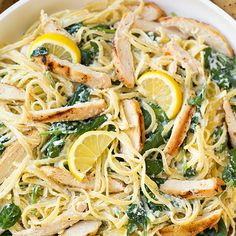 Lemon Ricotta Parmesan Pasta with Spinach and Grilled Chicken Recipe Main Dishes with chicken breasts, linguine, ground black pepper, salt, pasta water, baby spinach, extra-virgin olive oil, lemon zest, lemon juice, part-skim ricotta cheese, shredded parmesan cheese