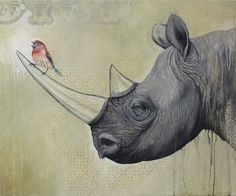 By painting his animal subjects out of their natural setting and adding in collage effects and painterly drips of colour, artist Bryan Holland turns the focus on the wild animals themselves – and sometimes on the mounting threats they're facing. Pencil Drawings Of Animals, Art Drawings, Rhino Art, Virtual Art, Rhinoceros, African Animals, Animal Paintings, Pet Portraits, Rock Art