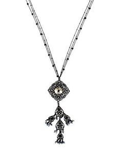 Long Filigree & Crystal Pendant Necklace, Black