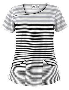 UA Seeing Stripes Silver Print Scrub Top Style