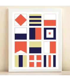 Coral and Navy 'Nautical Flag' print poster by Amanda Catherine Designs