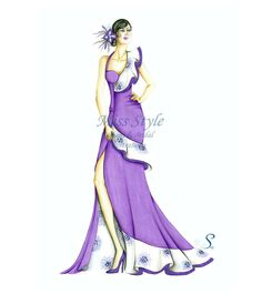 Primavera Viola - Fashion Illustration, fashion illustrator by @MissStyleCreazioni  ♥ ♥ ♥ ♥ ♥ ♥ www.etsy.com/shop/MissStyleCreazioni ♥ ♥ ♥ ♥ ♥ ♥