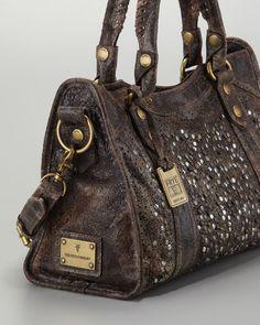 a84d59f1c0030 Frye Deborah Studded Satchel bag in Chocolate Purses And Handbags