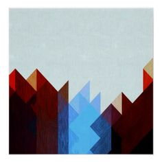 Red Blue Geometric Art Poster - retro posters classy cool vintage