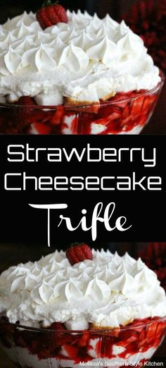 Cheesecake Trifle - You can find Strawberry dessert recipes and more on our website.Strawberry Cheesecake Trifle -Strawberry Cheesecake Trifle - You can find Strawberry dessert recipes and more on our website. Layered Desserts, Köstliche Desserts, Delicious Desserts, Cheesecake Desserts, Trifle Bowl Desserts, Awesome Desserts, Strawberry Trifle, Strawberry Recipes, Strawberry Cheesecake Cupcakes