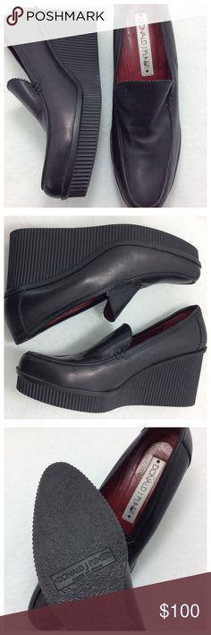 """Donald J. Pliner Leather Wedges GOR-GEOUS shoes! Buttery soft black leather upper with red leather lining, rubber sole. Full coverage loafer with 1"""" front platform graduating to 3"""" wedge heel.  Minor signs of wear on toe, see pics. Otherwise excellent, like new condition. Donald J. Pliner Shoes Wedges"""