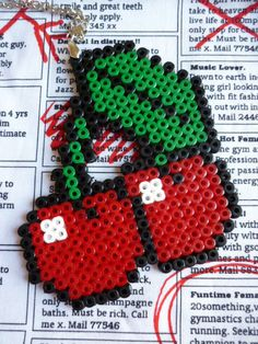 Hama Bead Red Cherries Necklace by LorelaiDinda on Etsy, £3.00