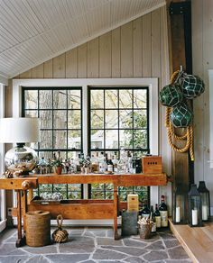 Beautiful bar on the rustic porch is all geared up for fun fall parties [Design: Thom Filicia] Style At Home, Small Bars For Home, Architecture Art Nouveau, Bar Interior Design, Glass Floats, Nautical Home, Nautical Interior, Sweet Home, Celebrity Houses