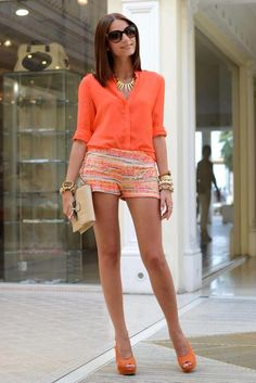 Tenue short orange