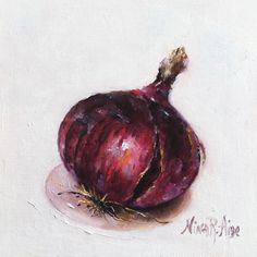 Red Onion Original Oil Painting by Nina R.Aide Still Life Kitchen Art Small Daily Painting Home Wall Decor by NinaRAideStudio on Etsy #still life#onion#red#oil painting#vegetable#kitchen art