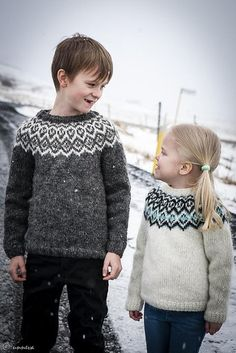 A Lopi sweater for kids with a traditional Icelandic yoke pattern - find the knitting pattern on LoveKnitting!