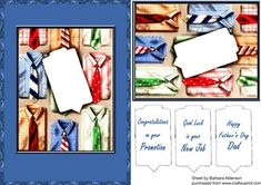 Shirts and Ties 2 on Craftsuprint designed by Barbara Alderson - card front with a choice of sentiments for Father's Day, New Job and Promotion at Work or you could add your own sentiments - Now available for download!