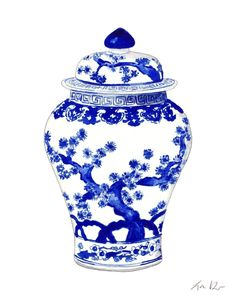 Blue and White China Art Ginger Jar Print 10 Asian Wall Decor Chinese Wall Art Chinoiserie Art Hollywood Regency Decor Preppy Art Pretty Art Watercolor Painting Canvas Art Print