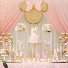 Beautiful Minnie Mouse Baby Shower by Photo by via Minnie Mouse Party Decorations, Minnie Mouse Birthday Decorations, Minnie Mouse First Birthday, 1st Birthday Party For Girls, Minnie Mouse Baby Shower, Minnie Mouse Pink, Mickey Birthday, Mickey Mouse, 2nd Birthday
