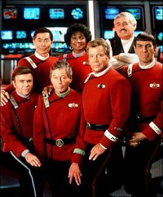 "Originial cast of Star Trek  -  back row : George Takei (Sulu) ... Nichelle Nichols  (Uhura) ... James Doohan,""Scotty""  front row : Walter Koenig, (Chekov) ... DeForest Kelley (Dr. ""Bones"" McCoy) ... William Shatner (Capt. James T. Kirk) ... Leonard Nemoy (Mr. Spock)  -"