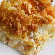 Potatoes for a crowd - I use cream of mushroom soup in place of the chicken soup and the corn flakes as a topping are yummy!
