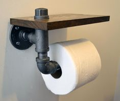 Reclaimed Wood and Pipe Toilet Paper Holder - Multiple Finishes Pipe Decor, Rustic Bathrooms, Pipe Furniture, Towel Holder, Bathroom Interior, Diy Home Decor, Decoration, Nail Holes, Wood Types
