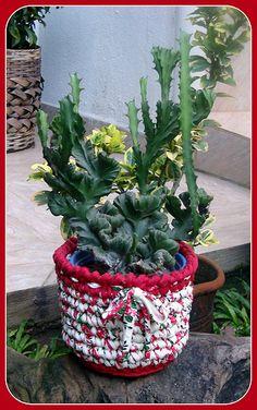 Cachepot em Trapilhos ou Fio de Malha, Crochet Rag Basket