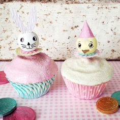 Everyday is a Holiday: Vintage Style Spun Cotton Easter Cupcake Toppers