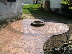 stamped concrete patio designs | Stamped Concrete Patio with Fire Pit by Swiss Village Concrete ...