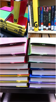 Fiction shelf labels : covered weeded Encyclopedia set with scrap paper and alphabet stickers (@ MEI Secondary Library)