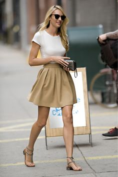 Candice Swanepoel out in New York City - I would add a scarf for a pop of color