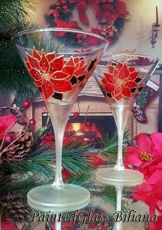 Set of 2 hand painted martini Christmas by PaintedGlassBiliana
