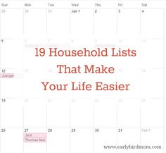 Here is a freebie that I really love from Early Bird Mom! It's 19 Household Lists to Make Your Life Easier. They help me feel a little