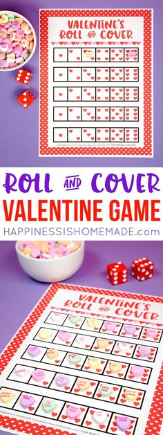 Looking for a fun and easy Valentine's Day game for your classroom, family, church, or playgroup? This Roll & Cover Valentine Game is fun for kids of all a Valentine Bingo, Valentines Day Activities, Valentines Day Party, Valentines For Kids, Free Printable Valentines, Valentines Hearts, Valentine Ideas, Valentine Crafts, Board Games
