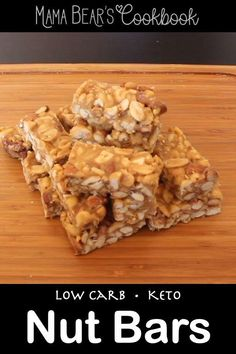 With only 5 minutes of prep, this Low Carb Nut Bar recipe has the perfect balance of crunchy, sweet and salty. They are a perfect snack to fuel up for a workout or an easy grab-n-go for breakfast. #lowcarb #keto #breakfast #bars #mamabearscookbook Delicious Breakfast Recipes, Yummy Snacks, Healthy Snacks, Snack Recipes, Healthy Bars, Keto Snacks, Yummy Recipes, Sugar Free Recipes, Low Carb Recipes