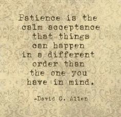 Patience is the calm acceptance