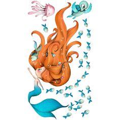Sticker enfant - Sirène et compagnie - Best of Wallpapers for Andriod and ios Mermaid Drawings, Mermaid Art, Mermaid Illustration, Cute Illustration, Memes Gratis, Mermaids And Mermen, Cat Face, Cute Drawings, The Little Mermaid