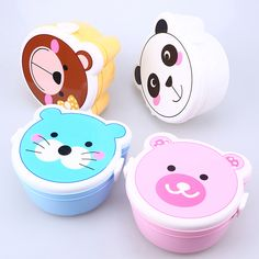Portable Bento Box Kawaii Plastic Double Layer Microwave Oven Lunch Box Food Container Dinnerware Sets for Kids Student Adults #Affiliate