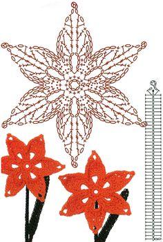 No.41 Lily Crochet Flower Motifs / 릴리 코바늘 플라워 모티브도안 : 네이버 블로그
