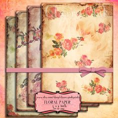 Digital collage sheet FLORAL PAPER Collage Shabby Texture Digital papers Download Scrapbooking Supplies for homecraft    Each design is 5 x 7 inch. This product is 2 300dpi A4 jpg collage sheet featuring all the designs for printing them all at the same time! They are perfect for scrap booking, collage art , and digital design.