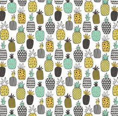 Geometric Fruit Fabric Pineapple Geometric On by Spoonflower