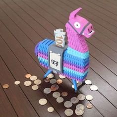 Fortnite Llama Coin Bank – One of the best things to find in Fortnite is now available as a coin bank for your desk or office! The slot within the saddle can fit any coin up to just over the diameter of that of a quarter; of course bills can[. Boys Game Room, Boy Room, Kids Room, Gamer Room, Gaming Wallpapers, Lego Creations, My New Room, Piggy Bank, Decoration