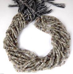"2 Strand AAA Black Rutile Faceted Gemstone Rondelle 3-4mm Gemstone Beads 13""Long…"